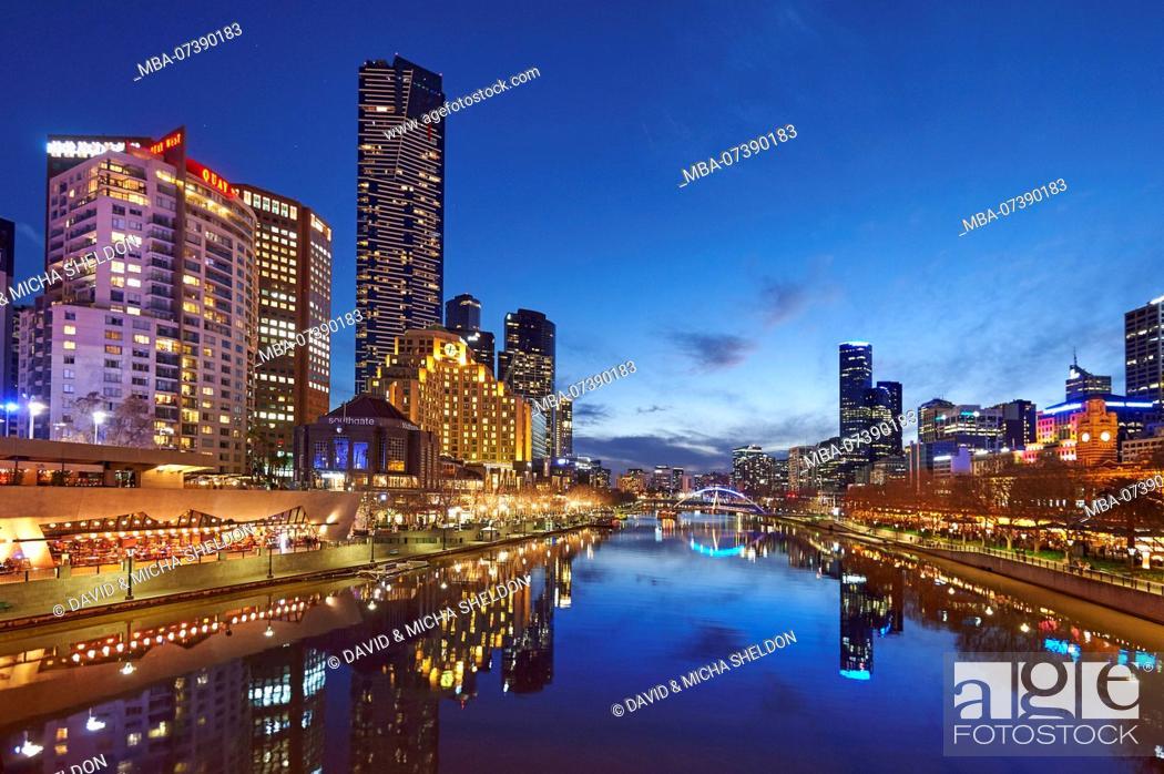 Stock Photo: Skyscraper (Eureka Tower) at Yarra River, Cityscape, Melbourne, Victoria,.