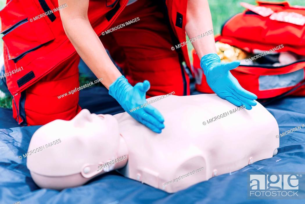 Stock Photo: CPR training.