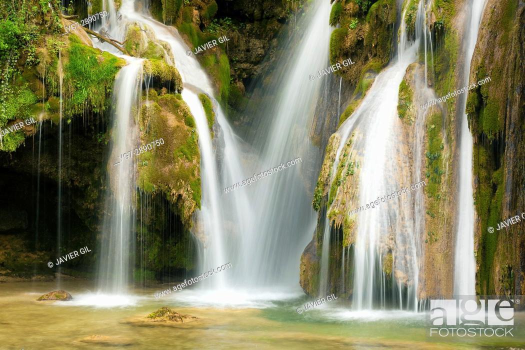 Stock Photo: Cascade of Tufs, Arbois, Jura, Franche-Comté, France.