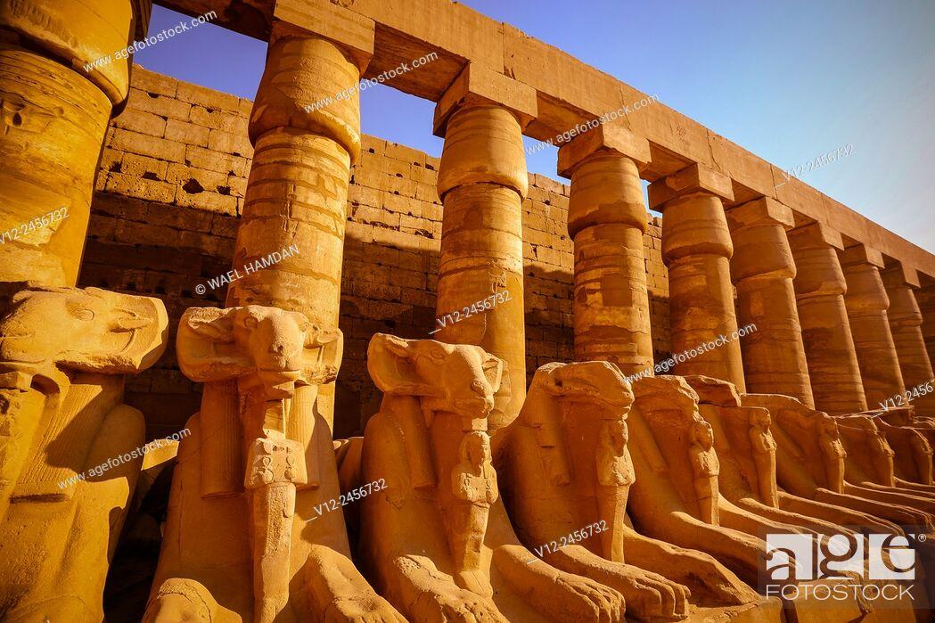 Stock Photo: Sphinx at Temple of Karnak, , Luxor, Egypt.