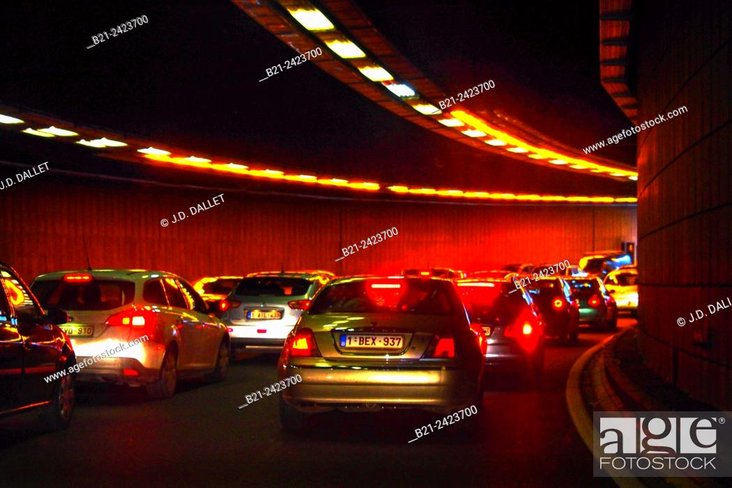 Stock Photo: Traffic in a tunnel at Brussels centrum, Belgium.
