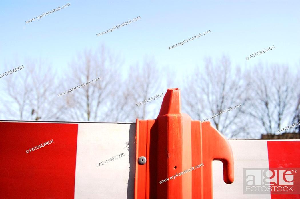 Stock Photo: Close-up of a roadside construction barrier.