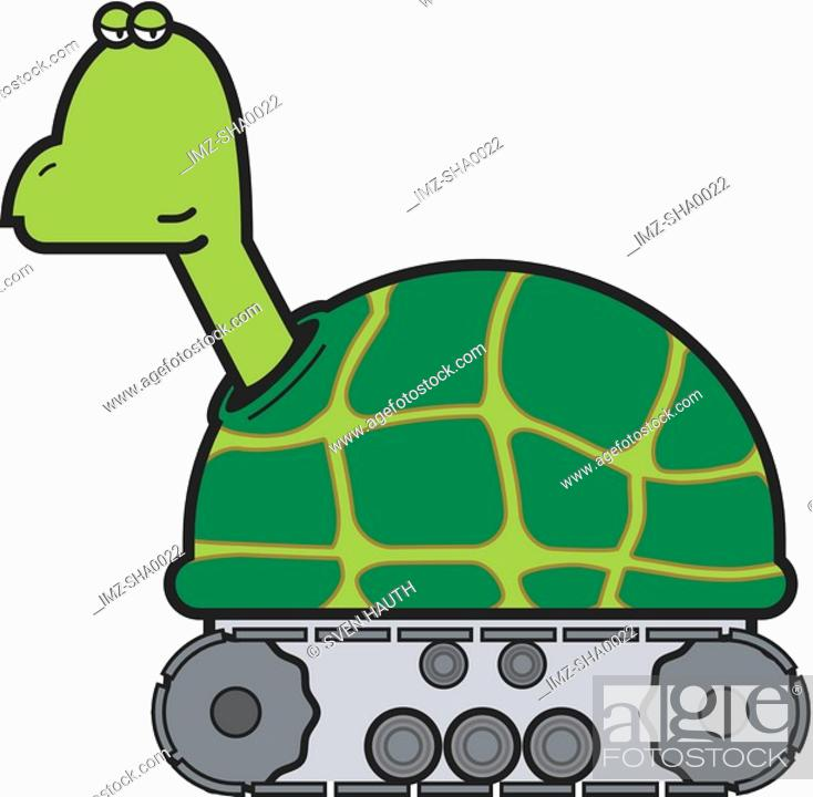 Stock Photo: An illustration of a turtle on wheels.
