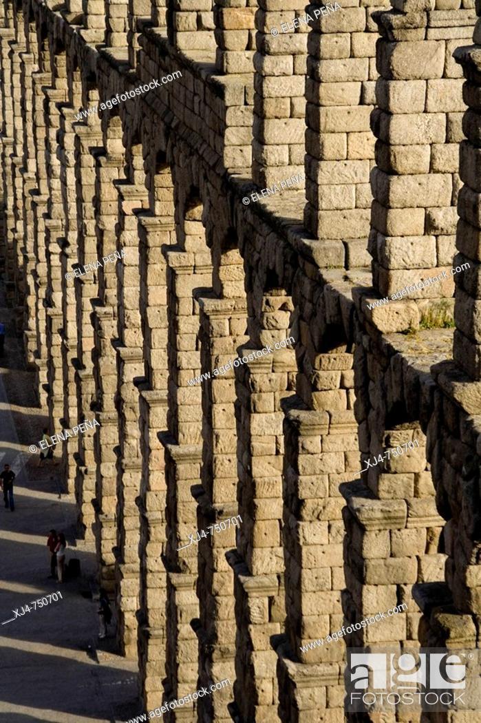 Stock Photo: Roman aqueduct, Segovia. Castilla-Leon, Spain.