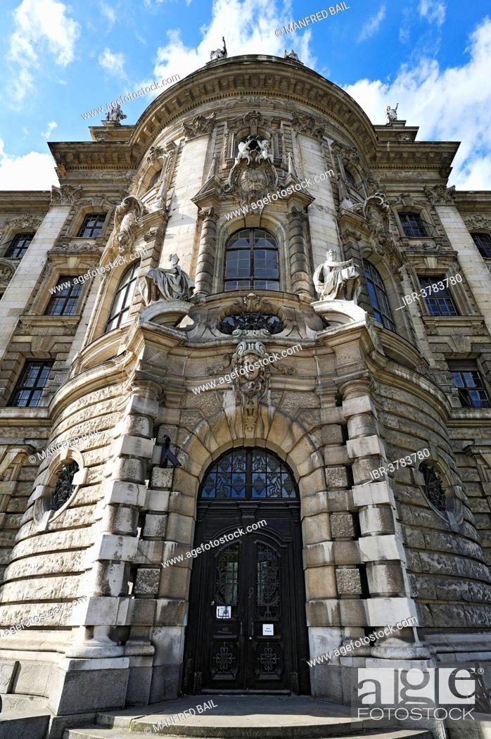 Stock Photo: Palace of Justice, eastern façade, Munich, Upper Bavaria, Bavaria, Germany.