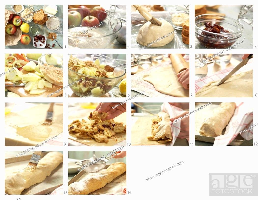 Stock Photo: How to make wholegrain apple strudel with dried cranberries.