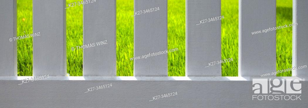 Stock Photo: Looking through a white wooden fence at green grass.
