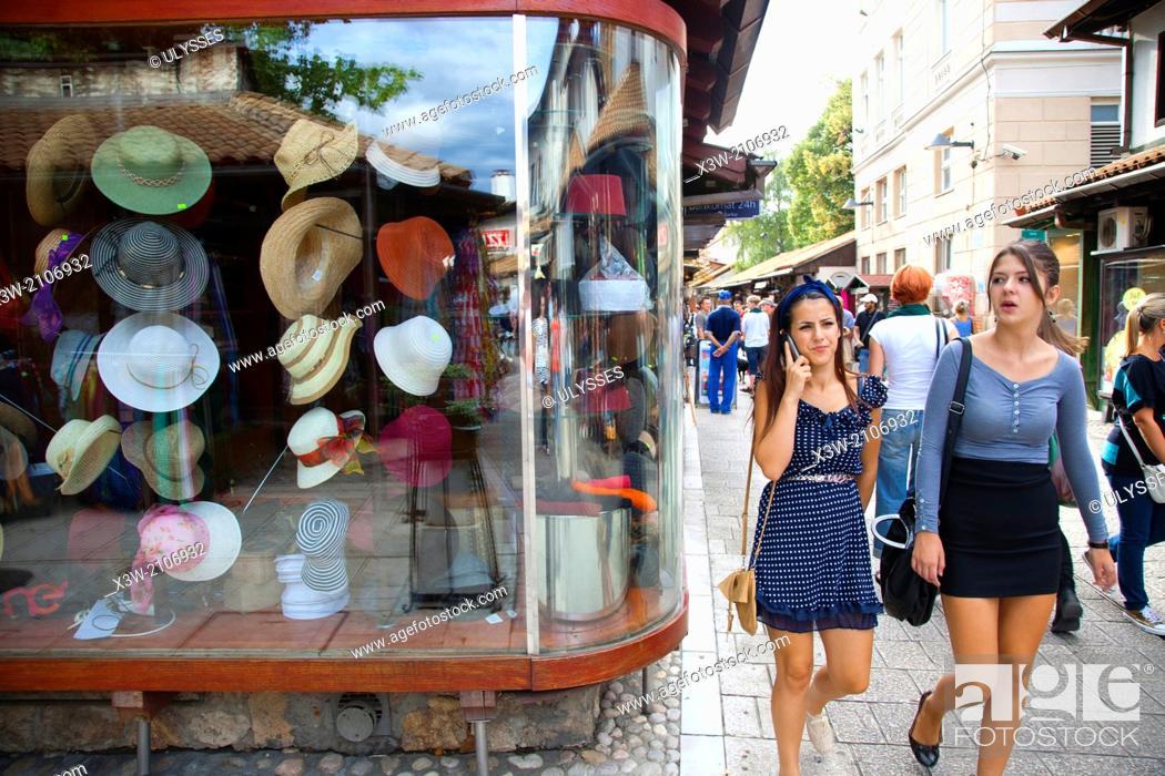 Stock Photo: hats shop, ferhadija street, bascarsija, sarajevo, bosnia and herzegovina, europe.