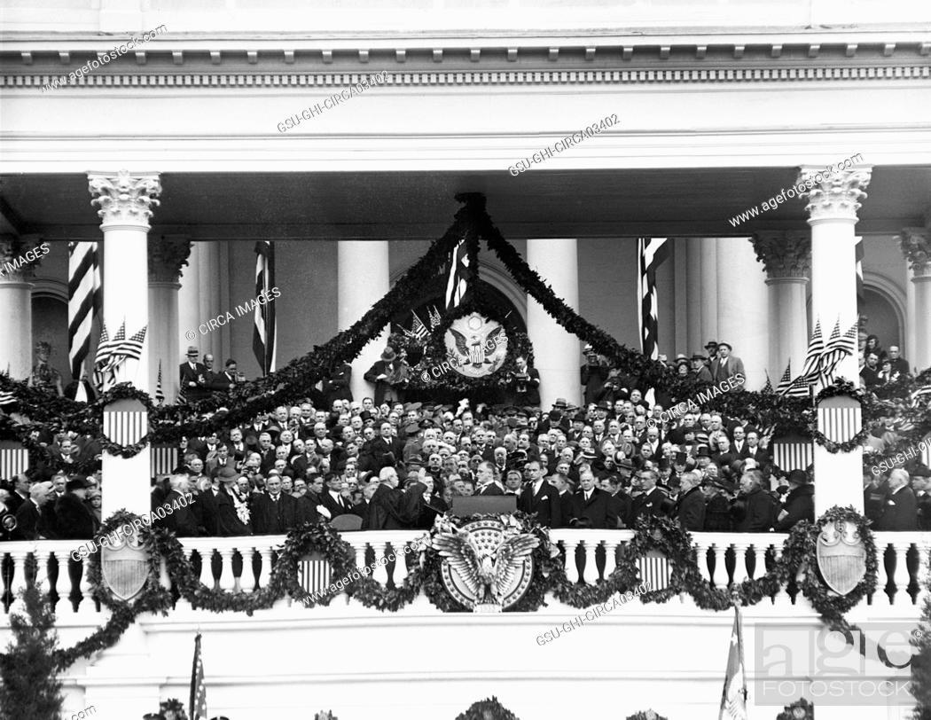 Stock Photo: Inauguration of U.S. President Franklin Roosevelt, Washington DC, USA, Harris & Ewing, March 4, 1933.