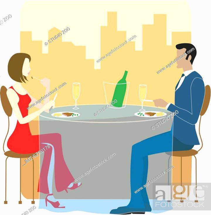Stock Photo: Man and Woman dining together.