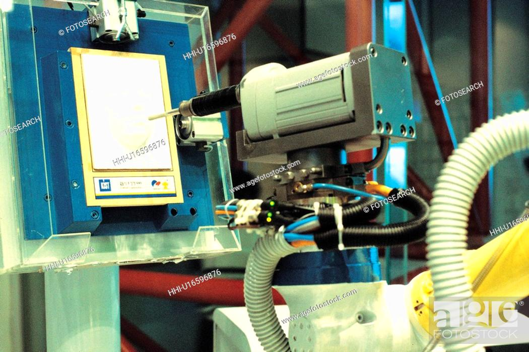 Stock Photo: high technology, machine, high tech, industry, factory, automated, robot.