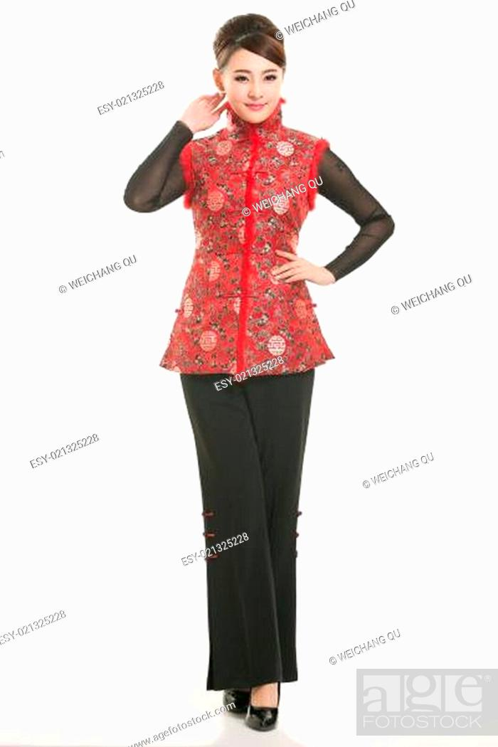 Stock Photo: Wearing Chinese clothing waiter in front of a white background.
