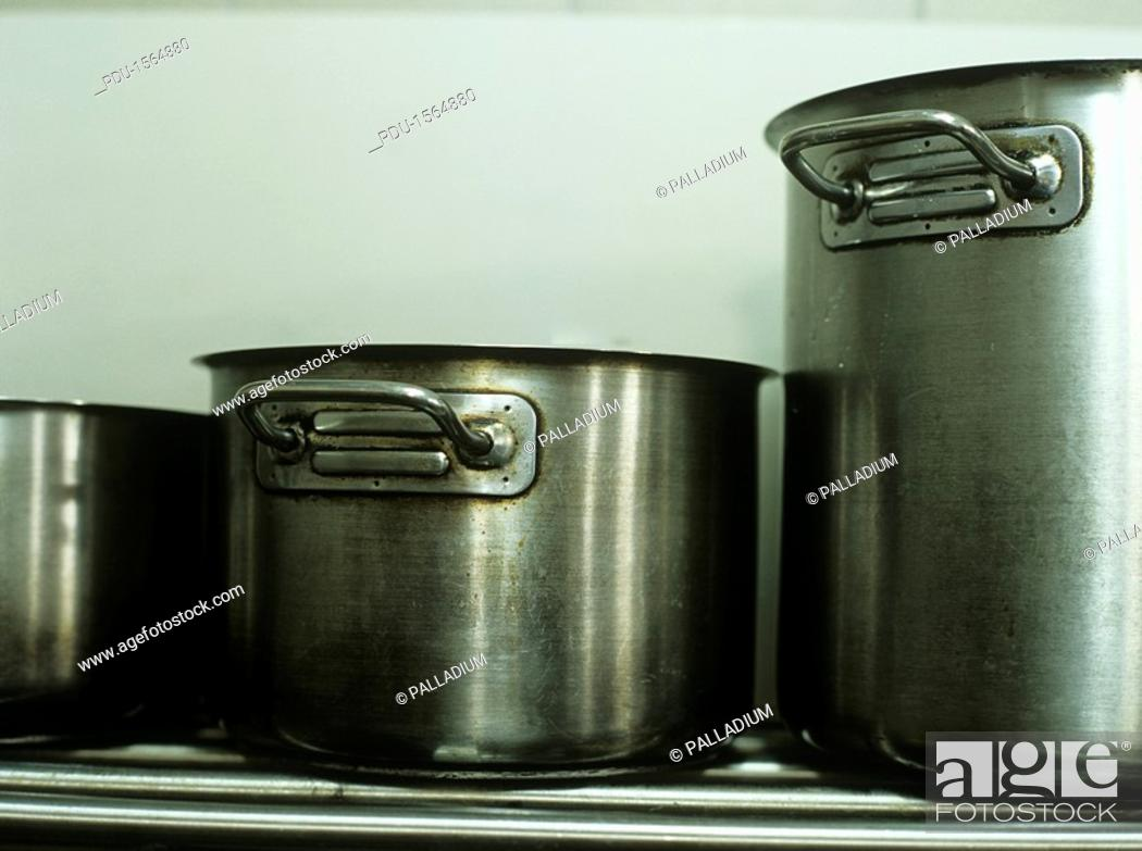 Stock Photo: Pasta pots in commercial kitchen,close-up.