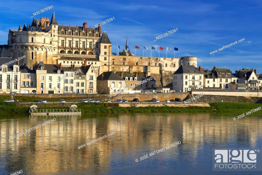Stock Photo: Amboise, Castle, Chateau de Amboise, Amboise Castle. Sunset, Indre et Loire, Loire Valley, Loire River, Val de Loire, UNESCO World Heritage Site, France.