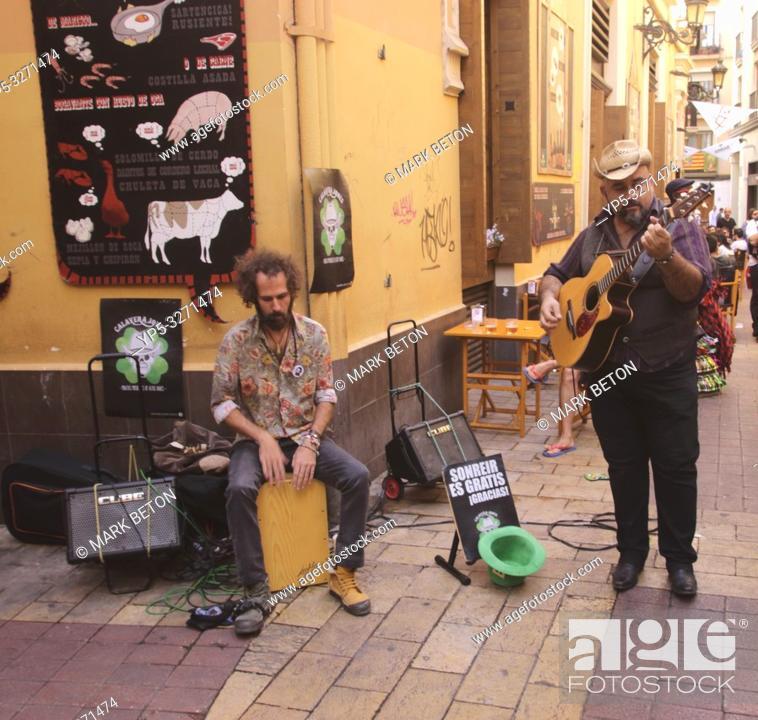 Stock Photo: Street musicians in Calle de la Libertad Zaragoza Spain.