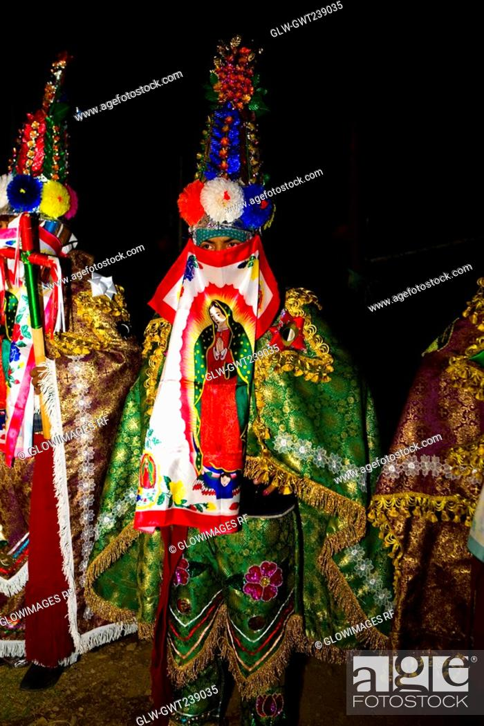 Stock Photo: Folk dancers performing traditional dance, Janitzio Island, Morelia, Michoacan State, Mexico.