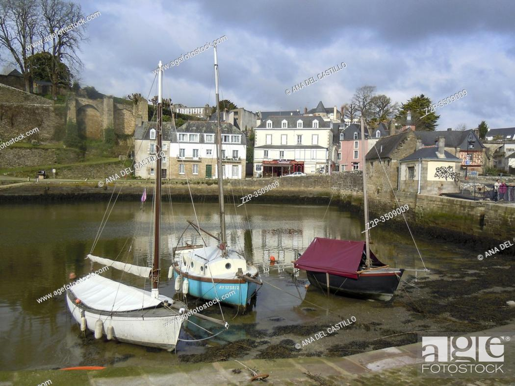 Stock Photo: Scenery in a French city named Auray located in the Morbihan department in Brittany France.