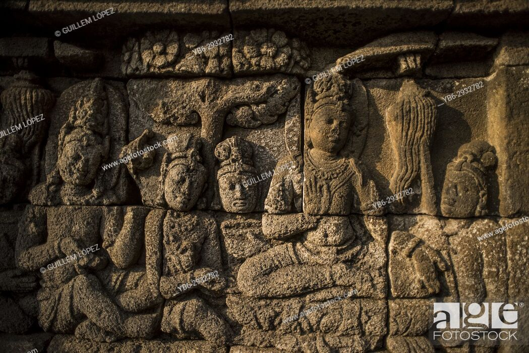 Stock Photo: Buddhist stone carvings at the Borobudur temple in Java, Indonesia.