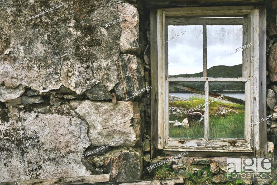 Stock Photo: View through window of abandoned crofters house, Isle of Lewis and Harris, Outer Hebrides, Scotland.