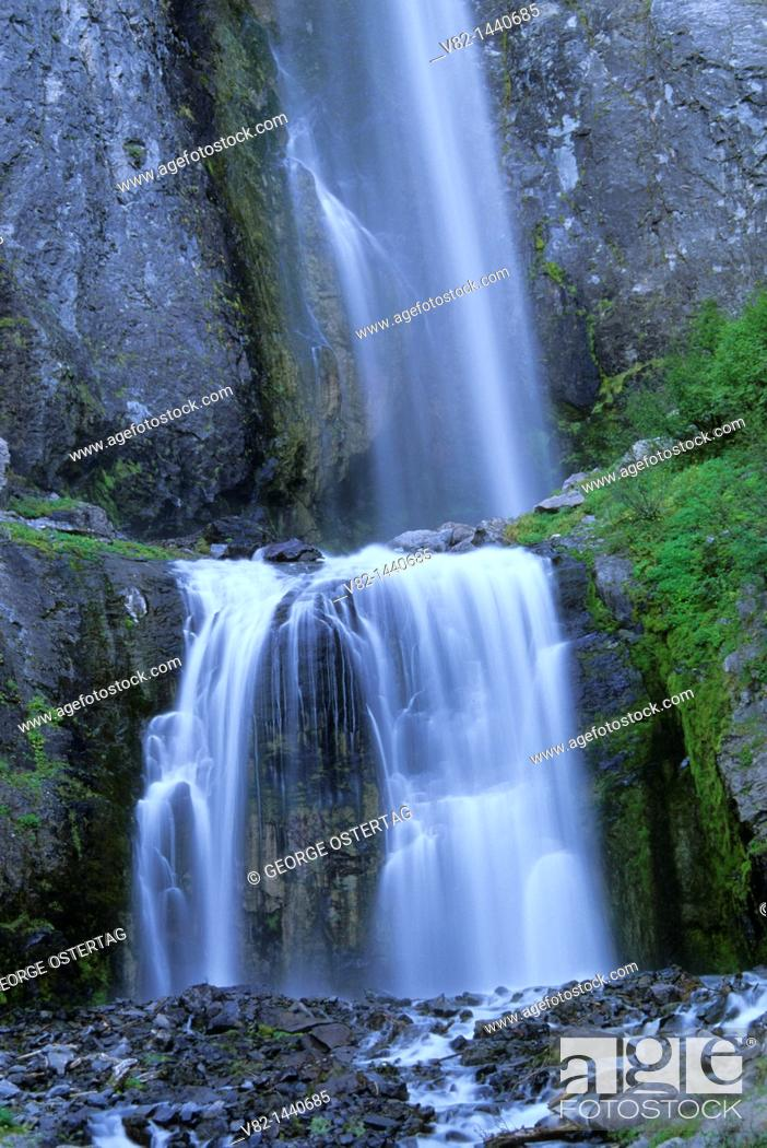 Stock Photo: Comet Falls, Mt Rainier National Park, WA.