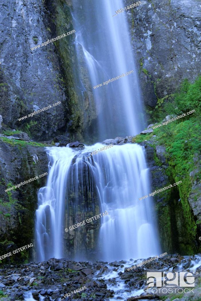 Stock Photo: Comet Falls, Mt Rainier National Park, WA.