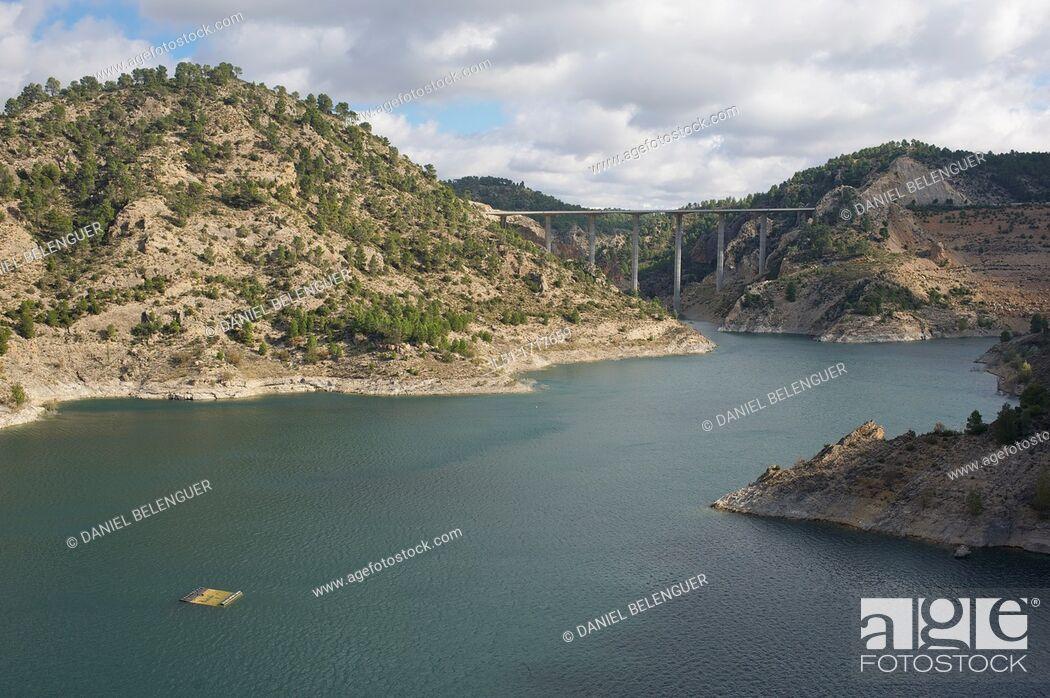Stock Photo: Contreras reservoir between Valencia and Cuenca, Cuenca, Spain.