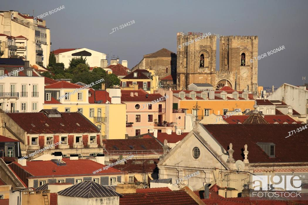Stock Photo: Portugal, Lisbon, skyline, cathedral, aerial view,.
