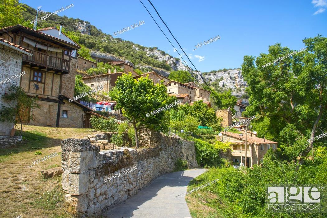 Stock Photo: Overview. Orbaneja del Castillo, Burgos province, Castilla Leon, Spain.