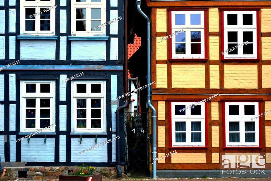 Stock Photo: Half-timbered Houses at Hitzacker.. Lower Saxony, Germany.