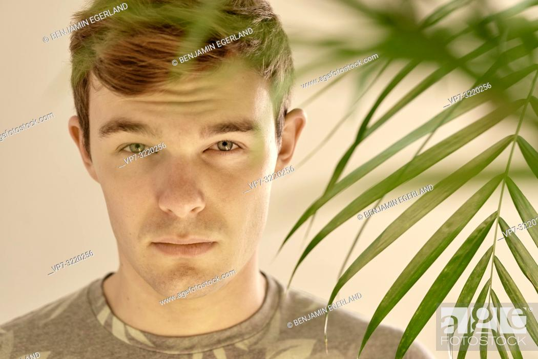 Stock Photo: Young man behind leaves of plant at home, portrait.