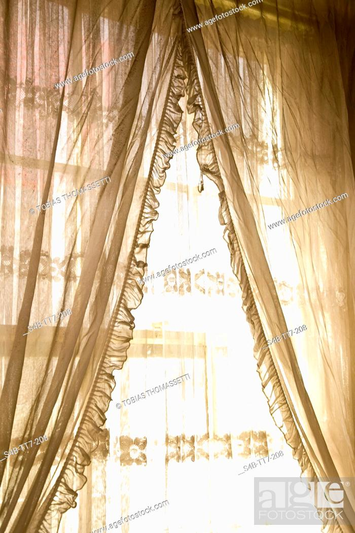 Stock Photo: Window with curtain, Ballarat, Victoria, Australia.