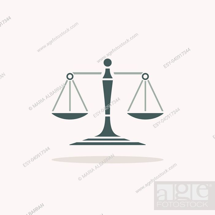 Vector: Scales of justice icon with shadow on beige background.