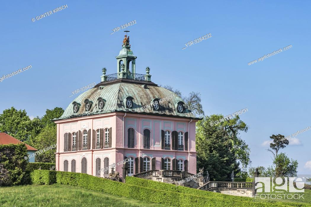Stock Photo: The Little Pheasant Castle (Fasanenschloesschen ) was built in the style of the Rococo from 1769 to 1782. It is located in the municipality of Moritzburg near.