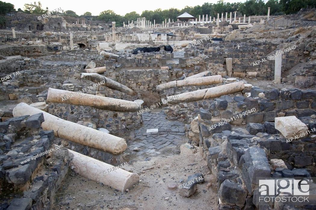 Stock Photo: Photograph of the ruins of the Roman city of Beit Shean in the Jordan valley.