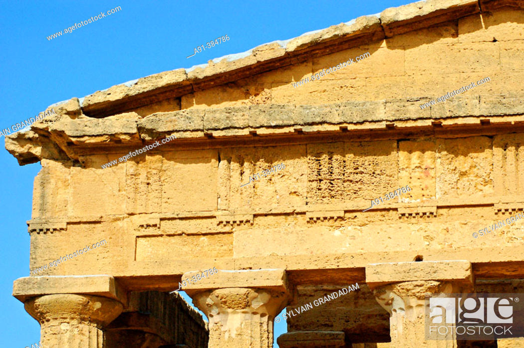 Stock Photo: Temple of Concorde built 5th century AD in classical doric style, considered as the greek temple in best condition in the world. Agrigento. Sicily.