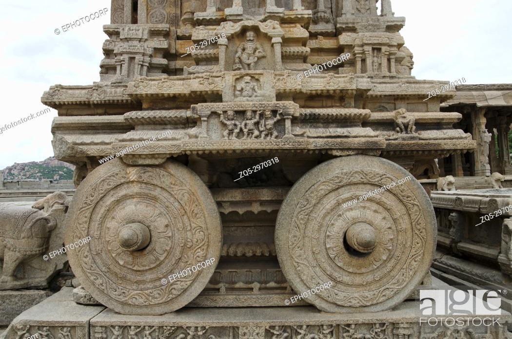 Stock Photo: Carving details o the stone chariot, Vittala Temple. Hampi, Karnataka, India Built in 15th century during the reign of King Devaraya Second (1422 â.