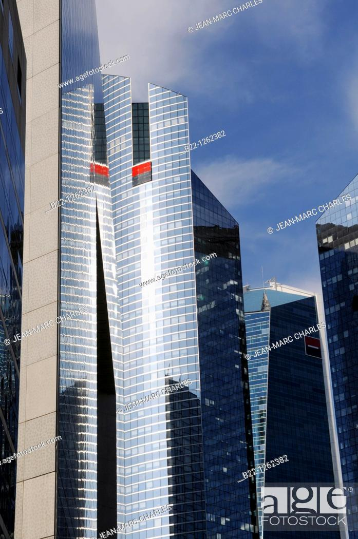 Stock Photo: Towers of Société Générale one of the leading financial services companies in Europe, La Defense business district, Paris, France.