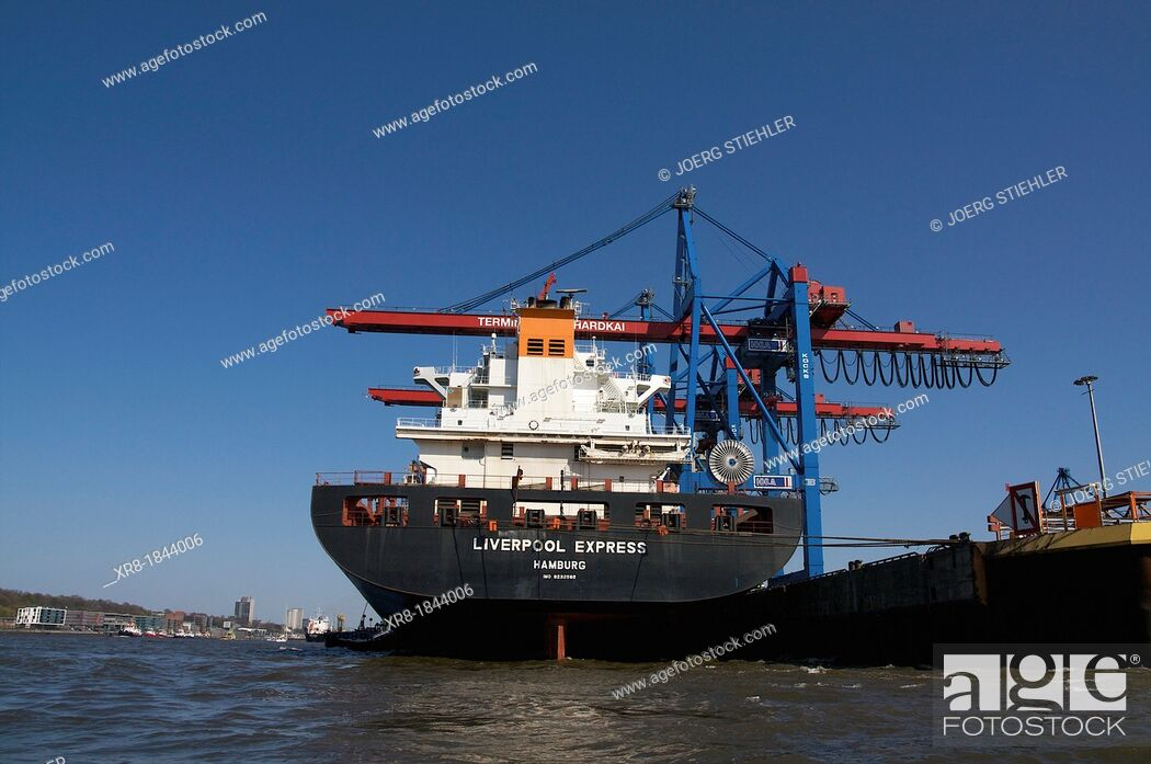 Stock Photo: Liverpool Express, Elbe, Terminal Burchardkai, Port of Hamburg, load and unload cargo.