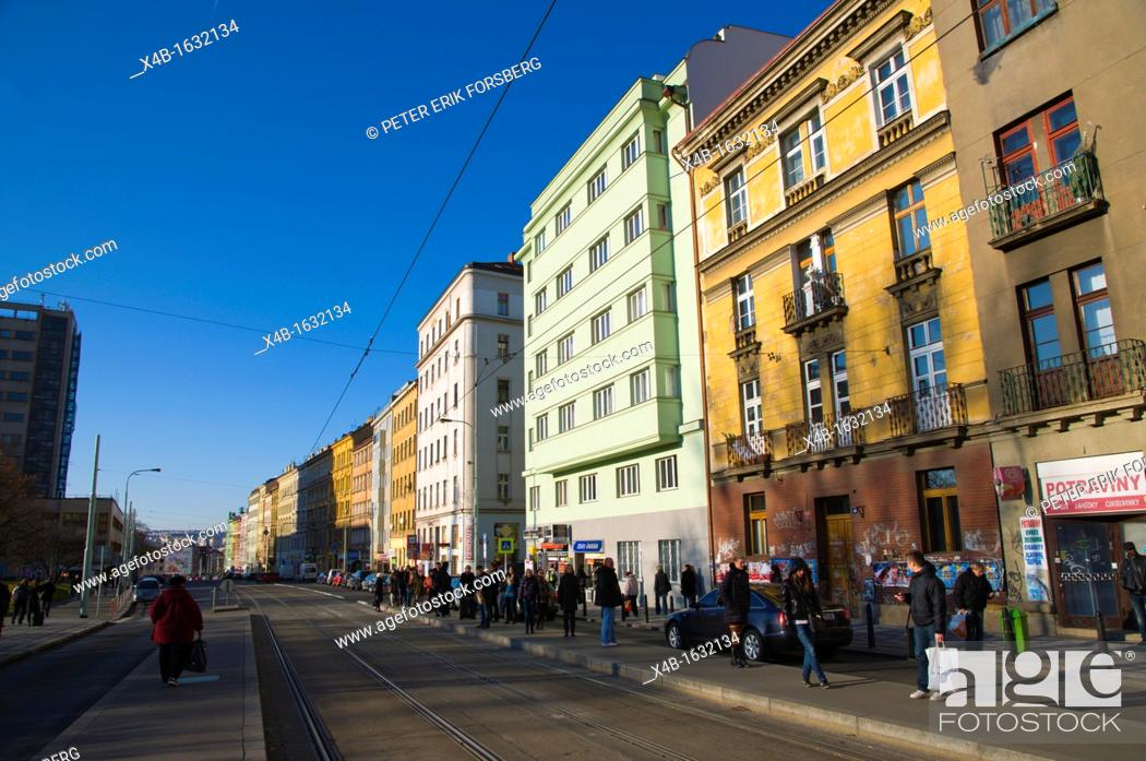 Stock Photo: Husinecka tram stop along Seifertova street Zizkov district Prague Czech Republic Europe.