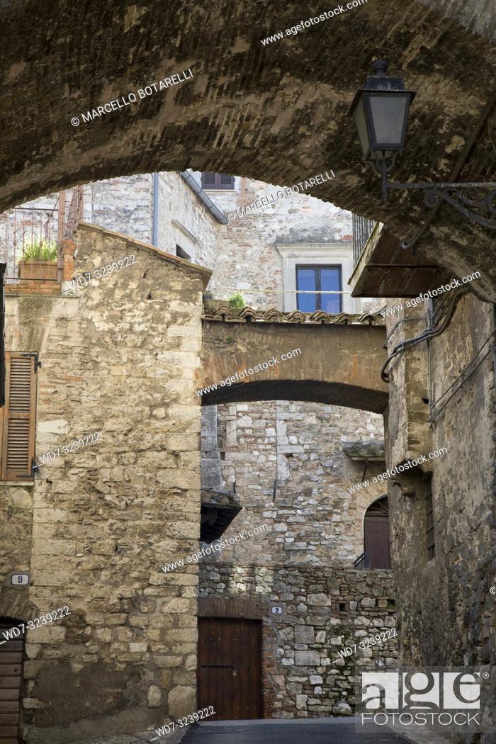 Stock Photo: historic alley of the city of Narni, near Terni, Umbria, Italy.