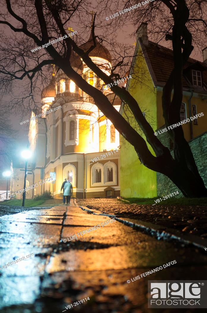 Imagen: Alexander Nevsky Cathedral at night, Tallinn, Estonia.