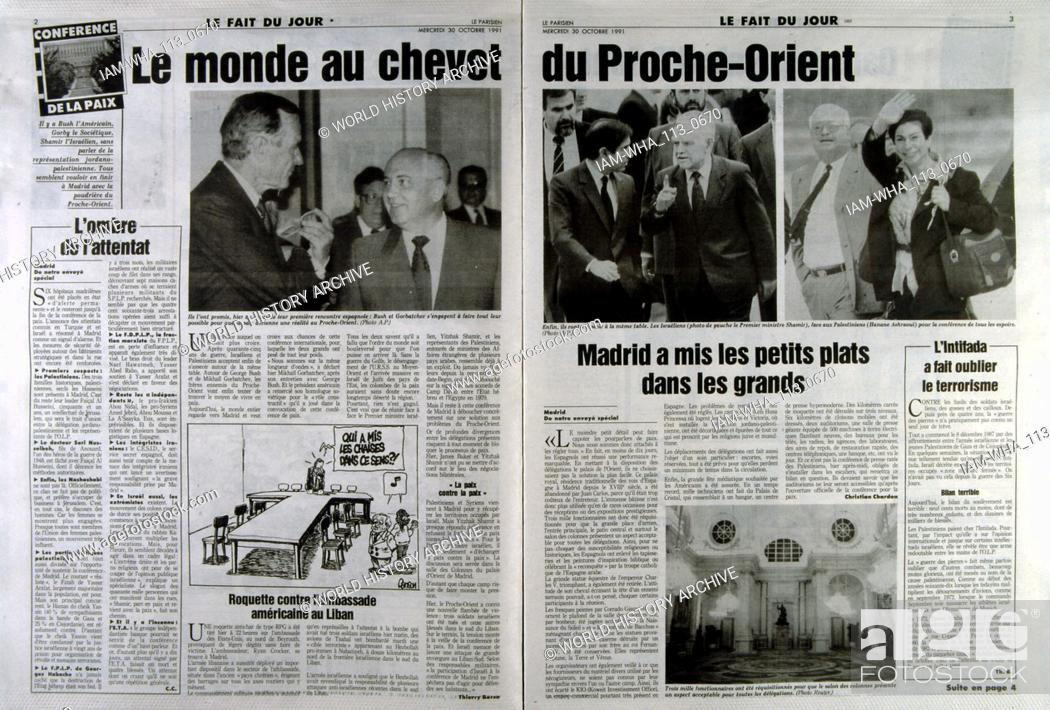 Stock Photo: French publication 'Le Parisien' reporting on the Madrid Conference; a peace conference, held from 30 October to 1 November 1991 in Madrid.