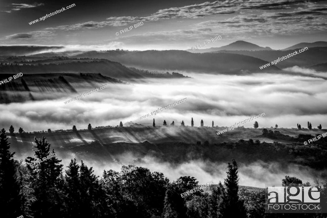 Stock Photo: Misty morning in Val d'Orcia.