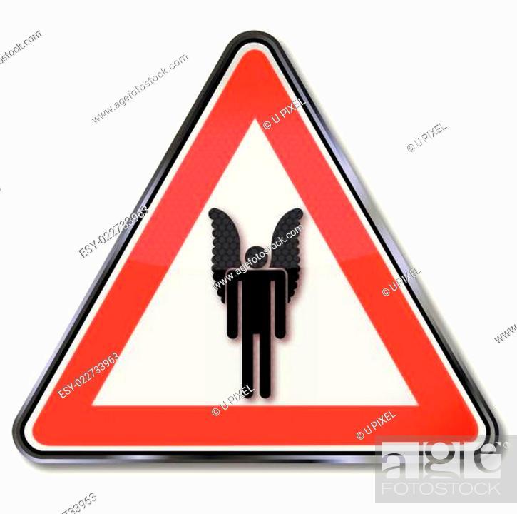 Stock Vector: Schild mit einem einsamen Engel.