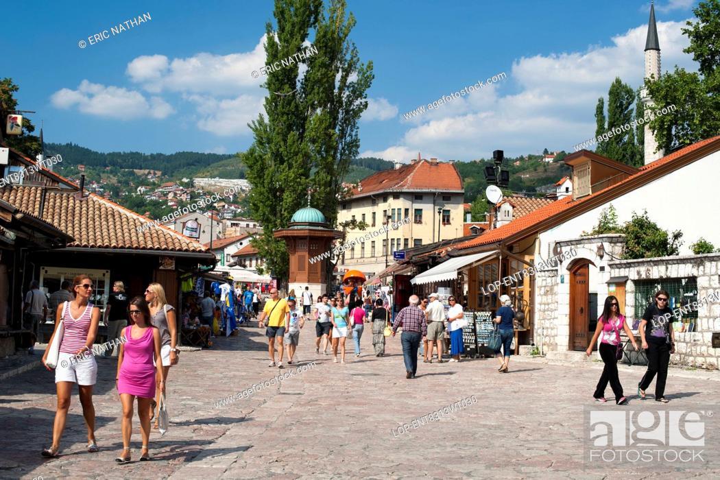 Stock Photo: Bosnia and Herzegovina, Sarajevo Canton, Sarajevo. The Bascarsija bazaar in Sarajevo.
