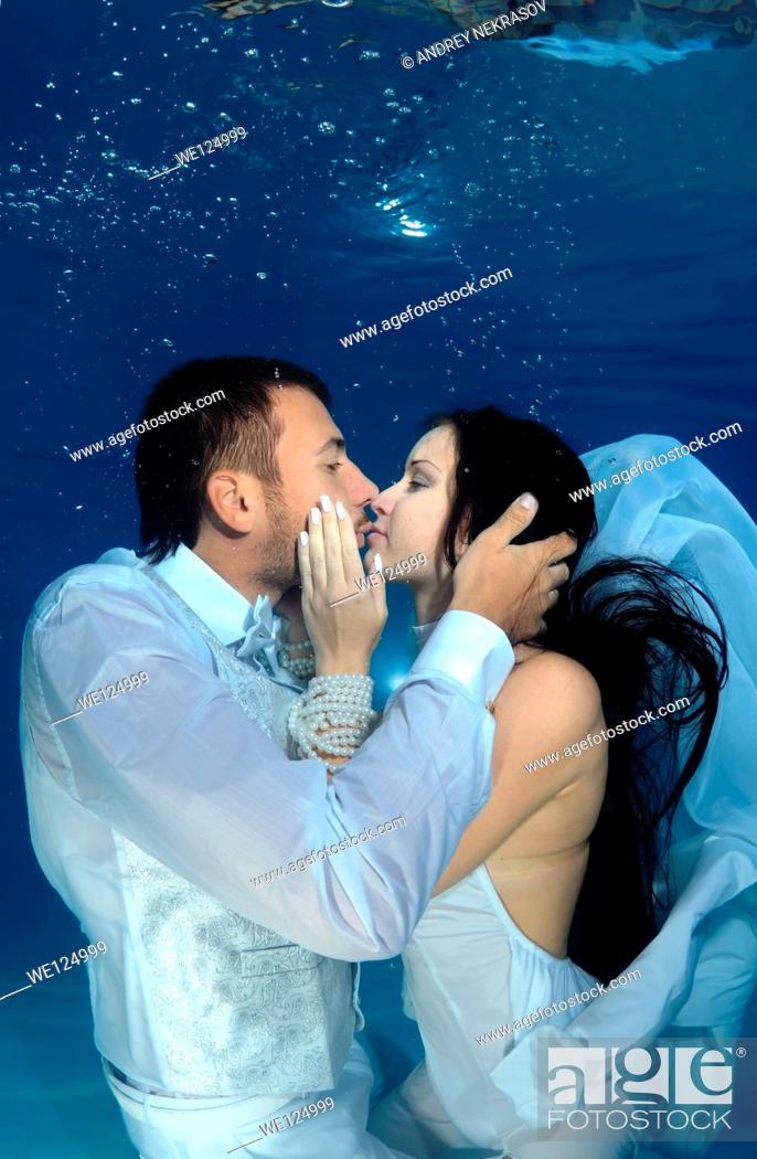 Stock Photo: Underwater wedding in pool, Odessa, Ukraine, Eastern Europe.