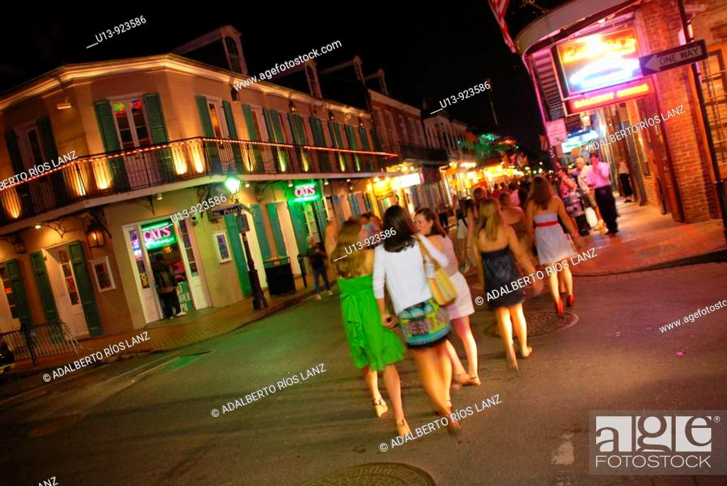 Stock Photo: Young Women in a Bachelor Party Celebration at Bourbon Street, French Quarter, New Orleans, Louisiana, United States.