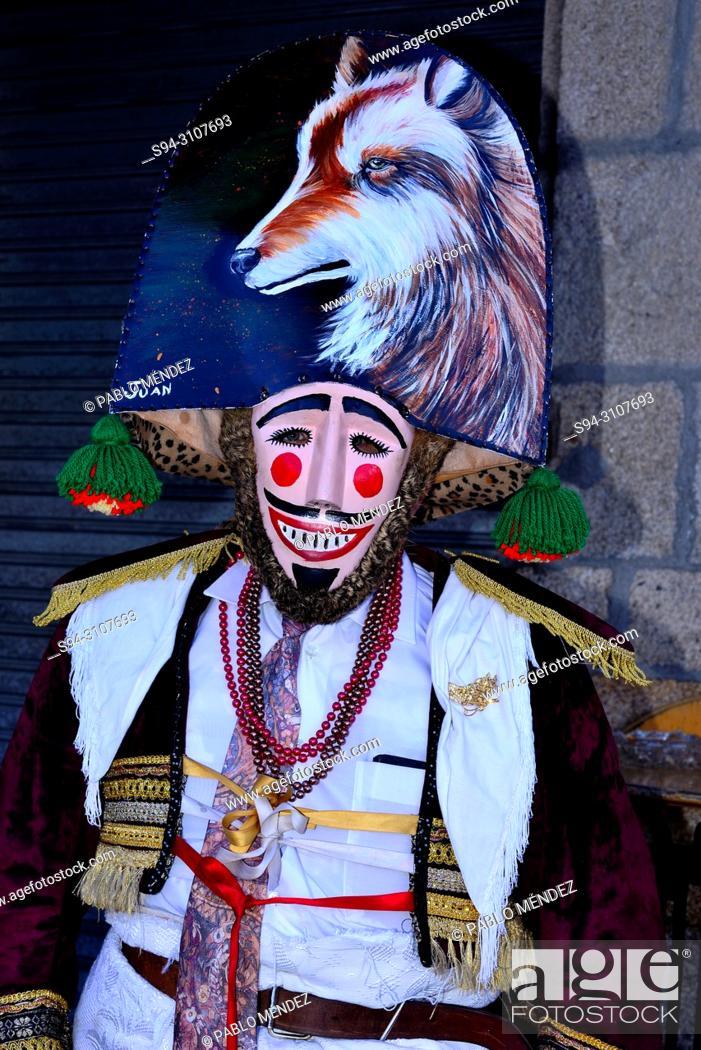 Stock Photo: Felo, ancestral mask of Maceda territory, Maceda, Orense, Spain.