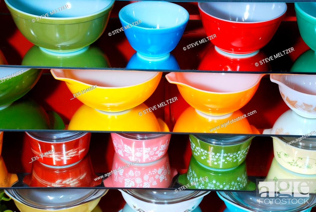 Stock Photo: Collection of American Pyrex dishes from the 1950-1980s.