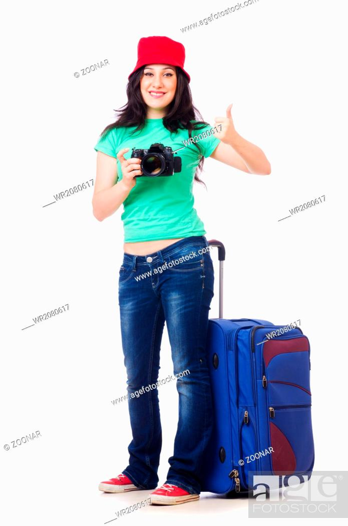 Imagen: Young girl with travel case and camera.